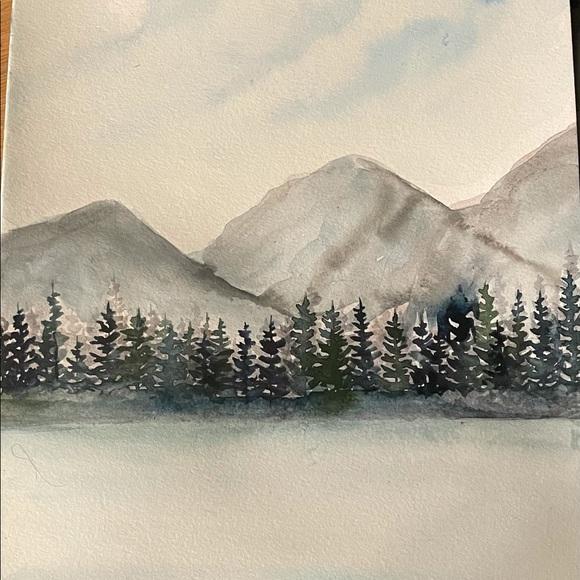Original watercolor winter